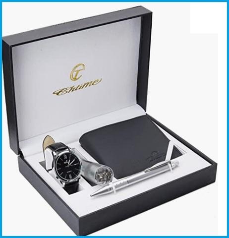 Set regalo orologio e accendino in metallo