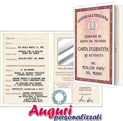 Biglietto Originale Carta D'identità Per Papà Originale