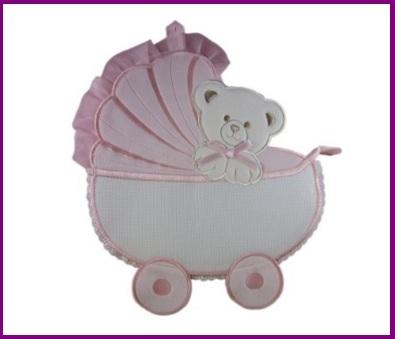 Coccarda a forma di carrozzina per bambine