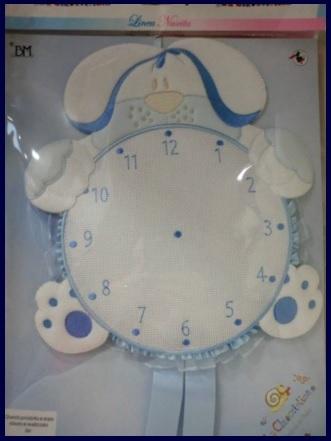 Fiocco a forma di orologio e cagnolino da ricamare bimbo