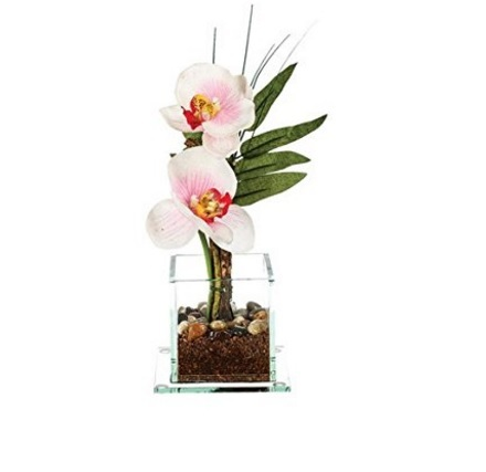 Composizione Artificiale Di Orchidea Bianca