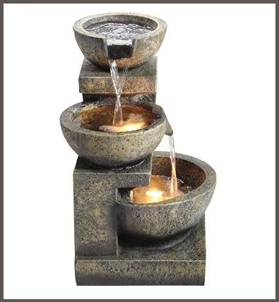 Fontana stile orientale, in granito con luci