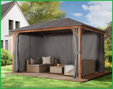 Gazebo aperto tetto solido in legno per il giardino