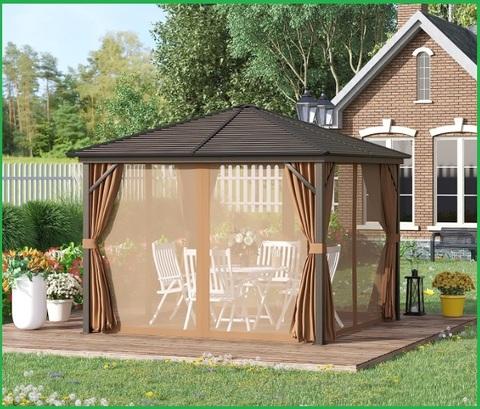 Gazebo da giardino in legno e tende in poliestere