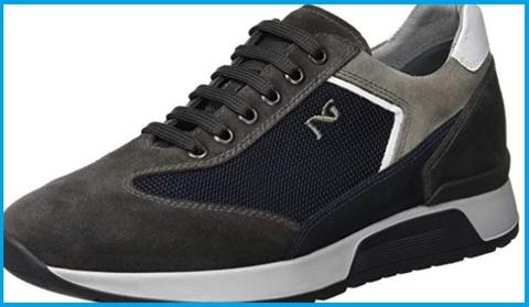 Sneakers nero giardini tipo english blu-grigio