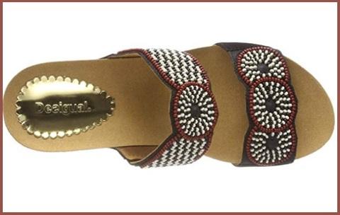 Sandalo donna fantasia tessuto, zeppa corda desigual