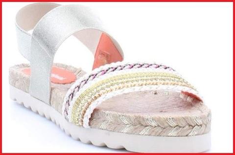 Sandalo donna tessuto fantasia  e zeppa corda desigual