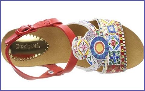 Sandalo donna fantasia lilla zeppa effetto sughero desigual
