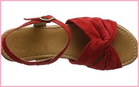 Sandalo donna scamosciato rosso, zeppa bata