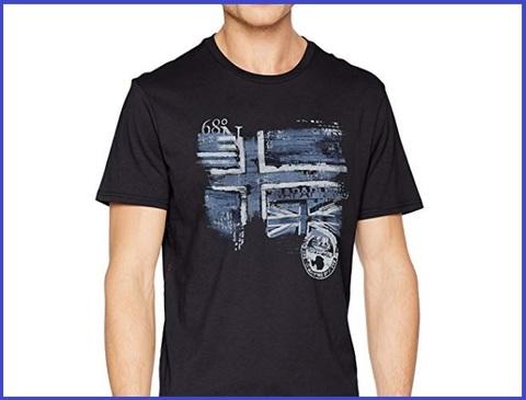 T-shirt da uomo girocollo inserto bandiera al petto napaijri