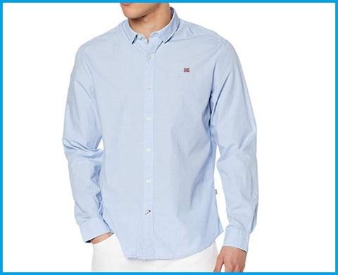 Camicia Da Uomo Azzurra Rigata Bianca,  Napapijri