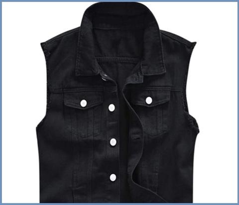 Gilet jeans uomo nero