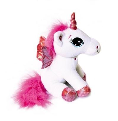 Peluche magico unicorno bianco e rosa