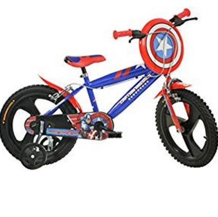 Bicicletta di capitan america con scudo