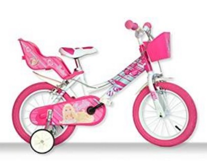 Bicicletta barbie colorata rosa per bimbe