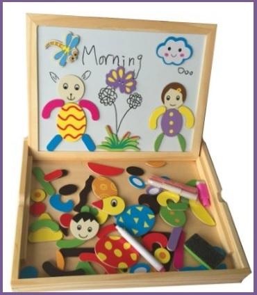 Lavagna puzzle in legno e magnetica per bimbi