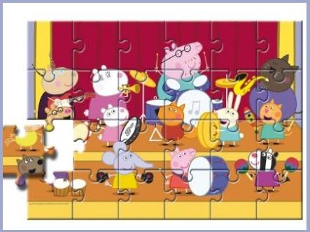 Puzzle 24 pezzi peppa pig e la musica per bambini