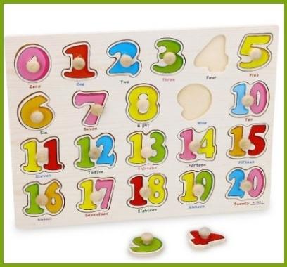 Giocattolo educativo in legno con 21 pezzi numeri arabi