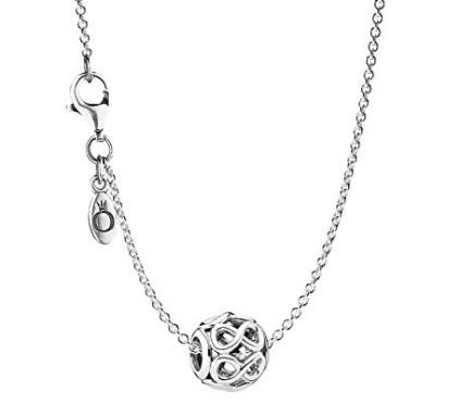 Pandora collana charm infinito in argento portafortuna