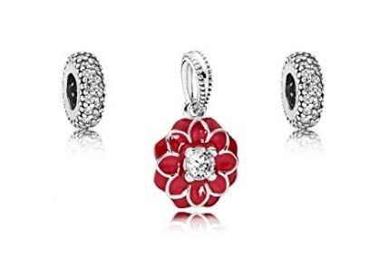 Pandora parure da donna con fiore e zirconi