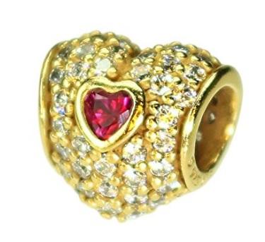 Pandora cuore oro placcato con rubino
