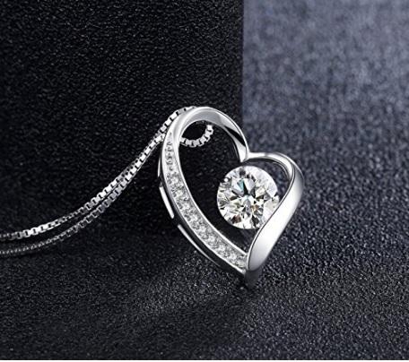 Collana a forma di cuore sterling 925 con zircone