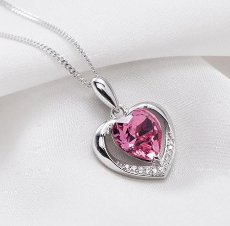 Collana molto bella con cuore e cristalli argento sterling