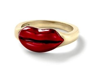 Anello d'oro con labbra rosse alison lou