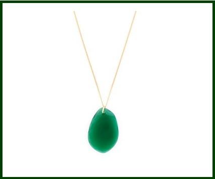 Collana Verde Agata E Placcata In Oro Wouters