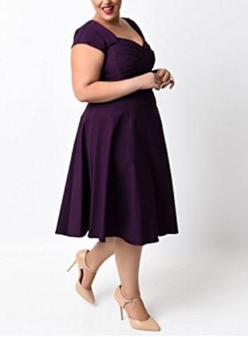 Vestito con pieghe stile 1950 elegante taglia grande