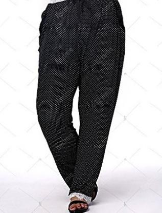 Pantaloni Casual A Pois Per Donna Taglia Forte