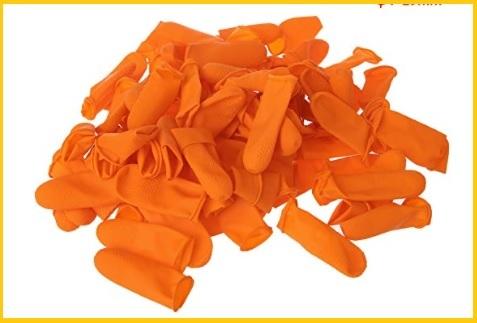 Guanti arancioni in lattice