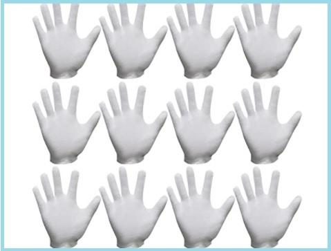 guanti in tessuto bianco esaminando gioielli guanti in cotone di cura comodi e traspiranti per la cura della pelle AYUQI 12 paia di guanti in cotone bianco lavoro quotidiano ecc.