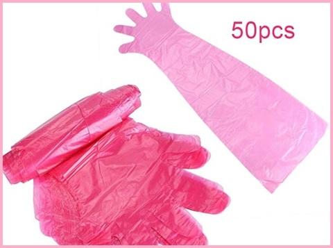 Guanti monouso lunghi rosa