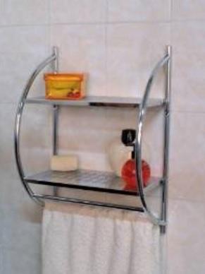 Mensola cromata da muro per la doccia