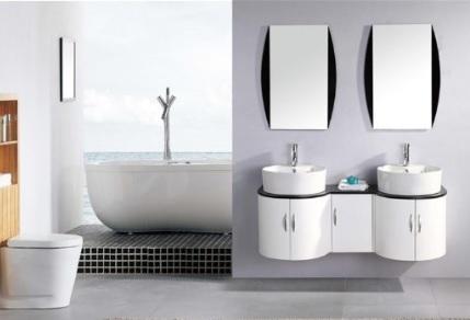 bagno moderno sospeso con doppio lavabo | Grandi Sconti ...