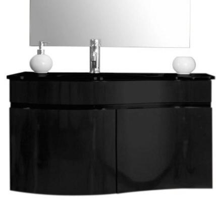 Mobile sospeso con lavabo in cristallo