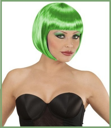 0073-3-PC18 Parrucca Donna Carnevale Bob Lungo Bob Altezza Spalle Liscia Frangetta Verde WIG ME UP /®