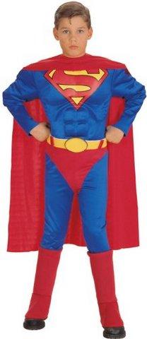 Costume superman abito carnevale con muscoli