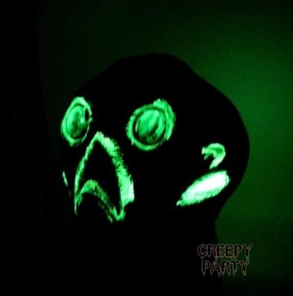Maschera horror fluorescente al buio per halloween