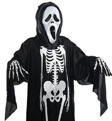 Maschera E Costume Horror Da Scheletro Per Ragazzi