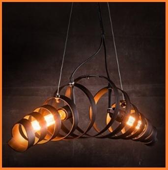 Lampadario in ferro battuto moderno con due luci
