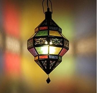 Lampada orientale vetro e metallo colorata