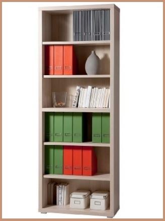 Libreria in frassino tinto cuba con elementi avorio lucido