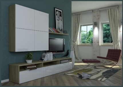 VISITA IL SITO WEB: soggiorno a parete con basi,mensola e pensili in ...