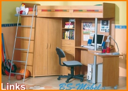 Cameretta arancione con letto a castello con scrivania - Letto a soppalco con scrivania ...