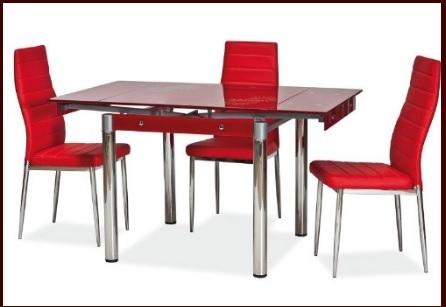 Tavolo allungabile rettangolare in vetro rosso