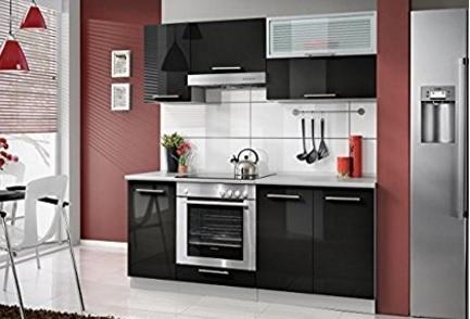 Cucina moderna da incasso nera lucida