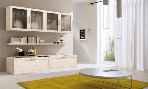 Parete soggiorno classico moderno bianco lazio grandi - Soggiorno moderno roma ...