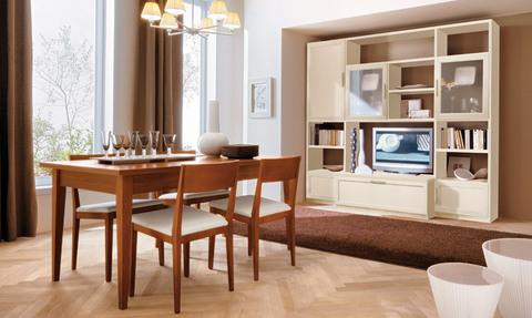 Parete classica bianca con tavolo sedie in ciliegio for Ingrosso arredamenti roma